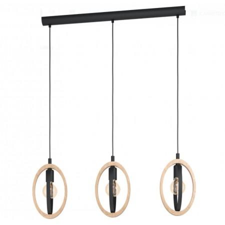 Lámpara Colgante Lineal Eglo Basildon 3xE27 Negro