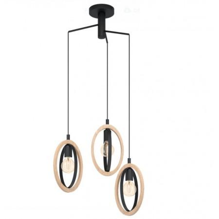 Lámpara Colgante Circular Eglo Basildon 3xE27 Negro
