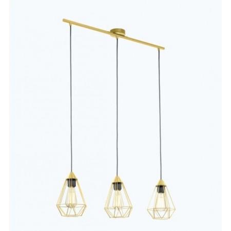 Lámpara Colgante Vintage Eglo Tarbes Latón Cepillado 3xE27 79cm