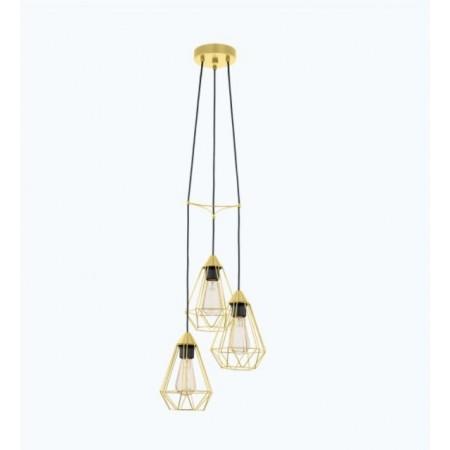 Lámpara Colgante Circular Eglo Tarbes Latón Cepillado 3xE27 31cm