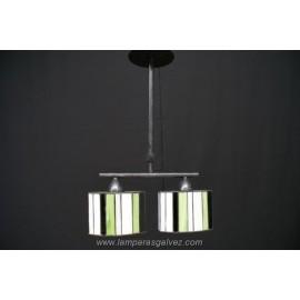 Lámpara Colgante Ovalado con Pantallas Tiffany Betis 2 Luces