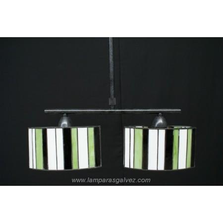 Lámpara Colgante Ovalado con Pantallas Grandes Tiffany Betis 2 Luces