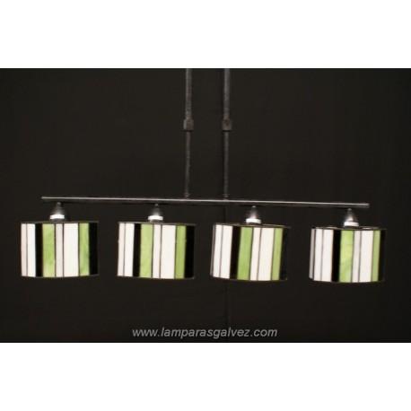 Lámpara Colgante Ovalado con Pantallas Tiffany Betis 4 Luces