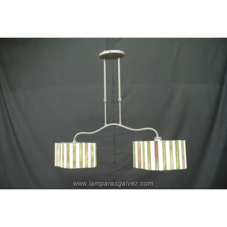 Lámpara Colgante Ovalado con Pantallas Tiffany Primavera 2 Luces