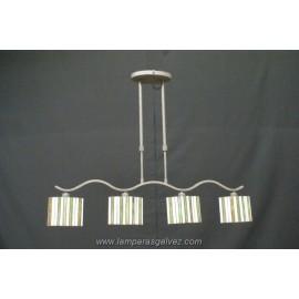 Lámpara Colgante Ovalado con Pantallas Tiffany Primavera 4 Luces
