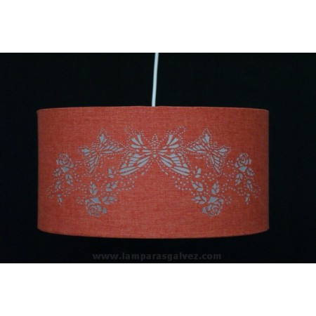 Lámpara Colgante Coral con Pantalla Decorada Mariposas 40cm