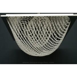 Plafón Cromo con Colgantes de Cristal Roca 20 Luces 60cm