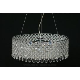 Lámpara Colgante Cristal y Cromo Rejilla 40cm 8 Luces