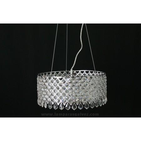 Lámpara Colgante Cristal y Cromo Rejilla 50cm 10 Luces