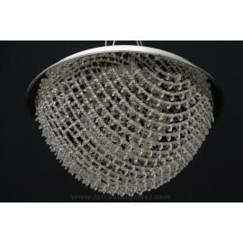 Plafón Cromo con Colgantes de Cristal Roca 9 Luces 46cm