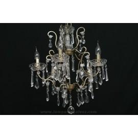 Lámpara de Brazos Bronce Viejo con Abalorios de Cristal 5 Luces