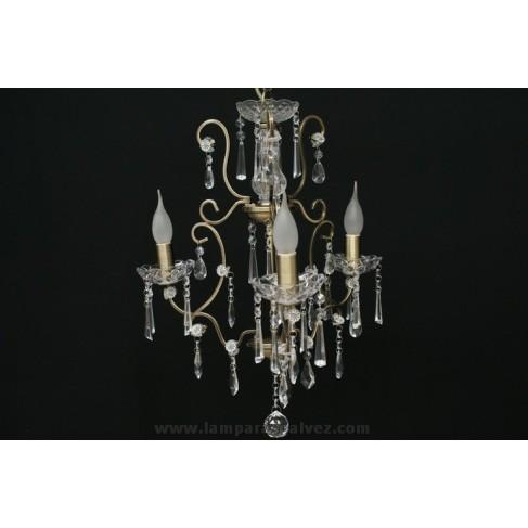 Lámpara de Brazos Bronce Viejo con Abalorios de Cristal 3 Luces