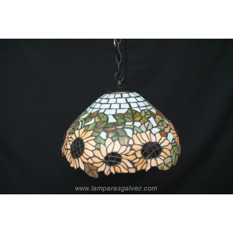 Lámpara Colgante Tiffany Girasoles 40cm 1 Luz