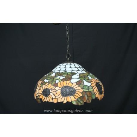 Lámpara Colgante Tiffany Girasoles 47cm 2 Luces
