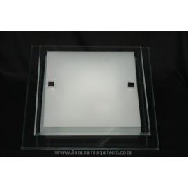 Plafón Cuadrado de Cristal Biselado 41cm