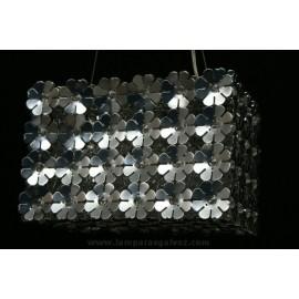 Lámpara Colgante Aluminio Cromo y Cristal Motivos Florales