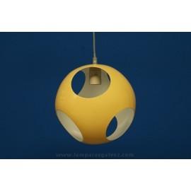 Lámpara Colgante Bola de Metal con Agujeros 25cm Amarilla