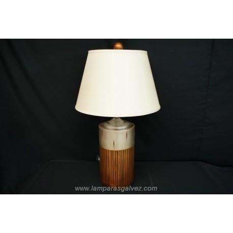 Lámpara de Sobremesa de Resina Tronco de Árbol con Pantalla