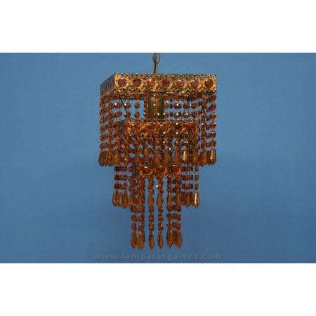 Lámpara Colgante de Forja Ámbar con Abalorios de Cristal Cuadrada