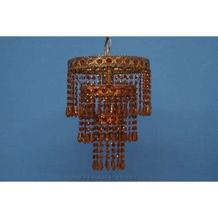 Lámpara Colgante de Forja Ámbar con Abalorios de Cristal Redonda