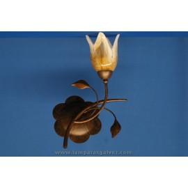 Aplique de Pared Marrón con Motivos Florales 1 Tulipa Decorada