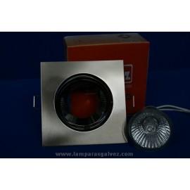 Foco Empotrable LED Halógeno GU10 Cuadrado Niquel Satinado y Cromo