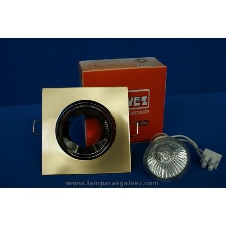 Foco Empotrable LED Halógeno GU10 Cuadrado Bronce Viejo y Cromo