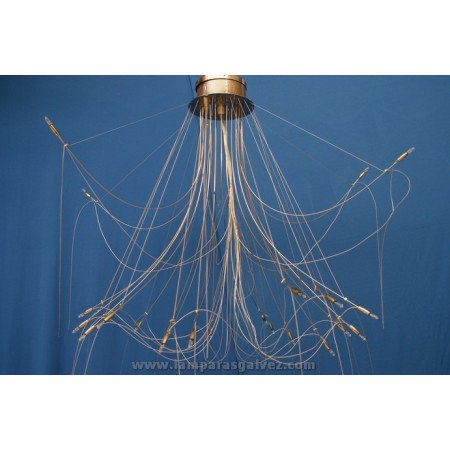 Lámpara de Brazos Níquel y Cable de Acero 24 Luces