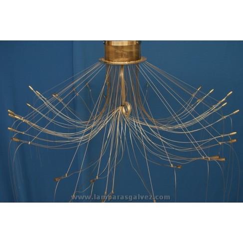 Lámpara de Brazos Níquel y Cable de Acero 36 Luces