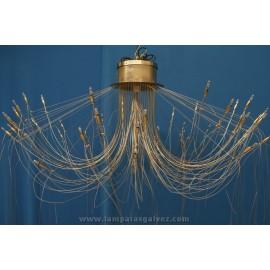 Lámpara de Brazos Níquel y Cable de Acero 48 Luces