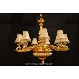 Lámpara pan de oro con pantallas