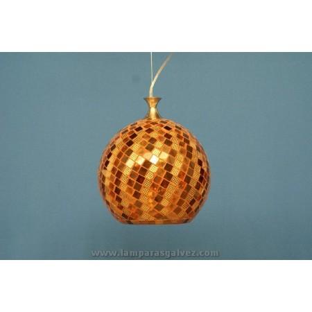 Lámpara Colgante Bola de Cristal Marrón Mosaico 25cm