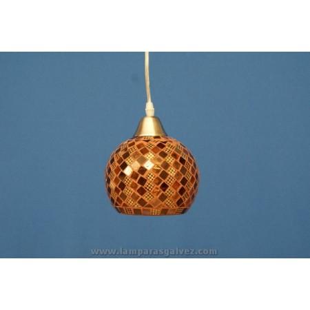 Lámpara Colgante Bola de Cristal Marrón Mosaico 15cm