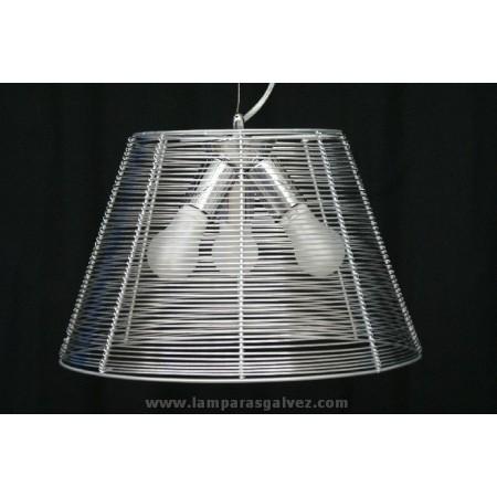 Lámpara Colgante Aluminio Rejilla con Bombilla Globo 40cm