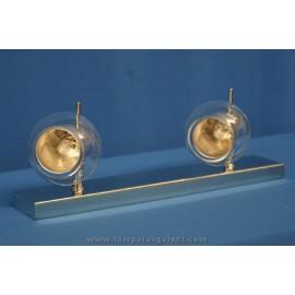 Regleta cromo cristal 2 luces