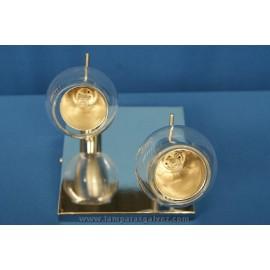 Plafón cromo cristal 2 luces