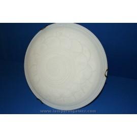 Plafón de Cristal Blanco Decorado Espiral y Arcos