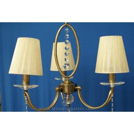 Lámpara bronce viejo con pantalla