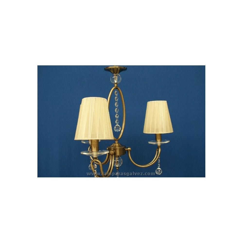 L mpara bronce viejo con pantalla lamparas galvez - Lamparas de techo con pantalla ...