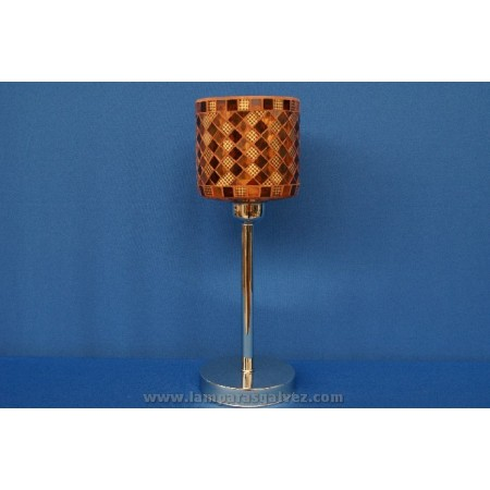 Lámpara de Sobremesa Cromo con Pantalla de Cristal Mosaico