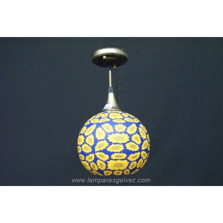 Lámpara Colgante Bola de Cristal Decorada Girasoles 25cm