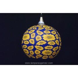 Lámpara Colgante Bola de Cristal Decorada Girasoles 30cm