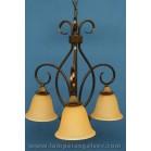 Lámpara de Brazos de Forja con Tulipas de Cristal Difuminado 3 Luces