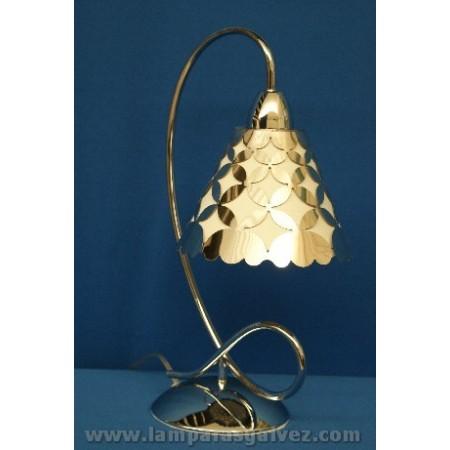 Lámpara de Sobremesa Cromo Pantalla Cónica