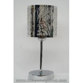 Lámpara de Sobremesa Cromo con Pantalla de Acero Calado