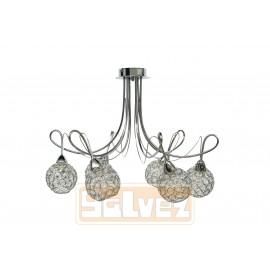 LAMPARA SEMIPLAFON CROMO 6 LUCES