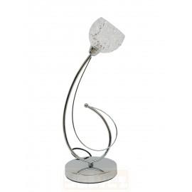 Lámpara de Sobremesa Cromo con Tulipa Cristal Decorado