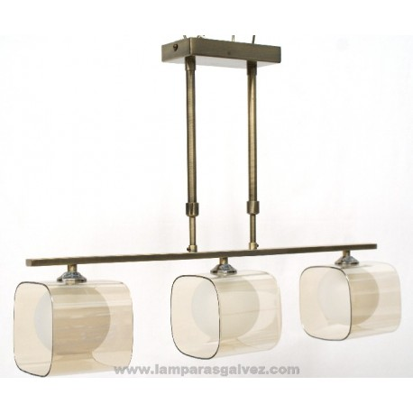 LAMPARA BRONCE VIEJO 3 LUCES