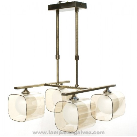 LAMPARA BRONCE VIEJO 4 LUCES