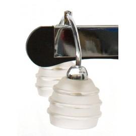 Lámpara Colgante Cromo y Madera Wengue Tulipas Translúcidas 6 Luces
